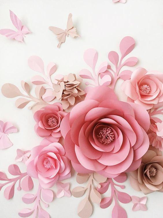 Como hacer flores de papel gigantes - Como hacer rosas de papel ...