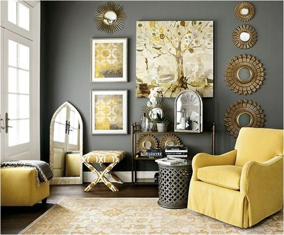 black and yellow living room design decoracion con espejos circulares curso de decoracion de 24556