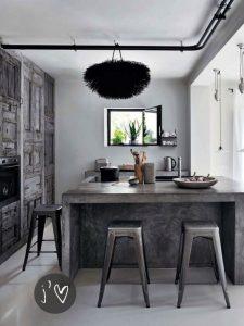 cocina con desayunador color gris y negro (4)