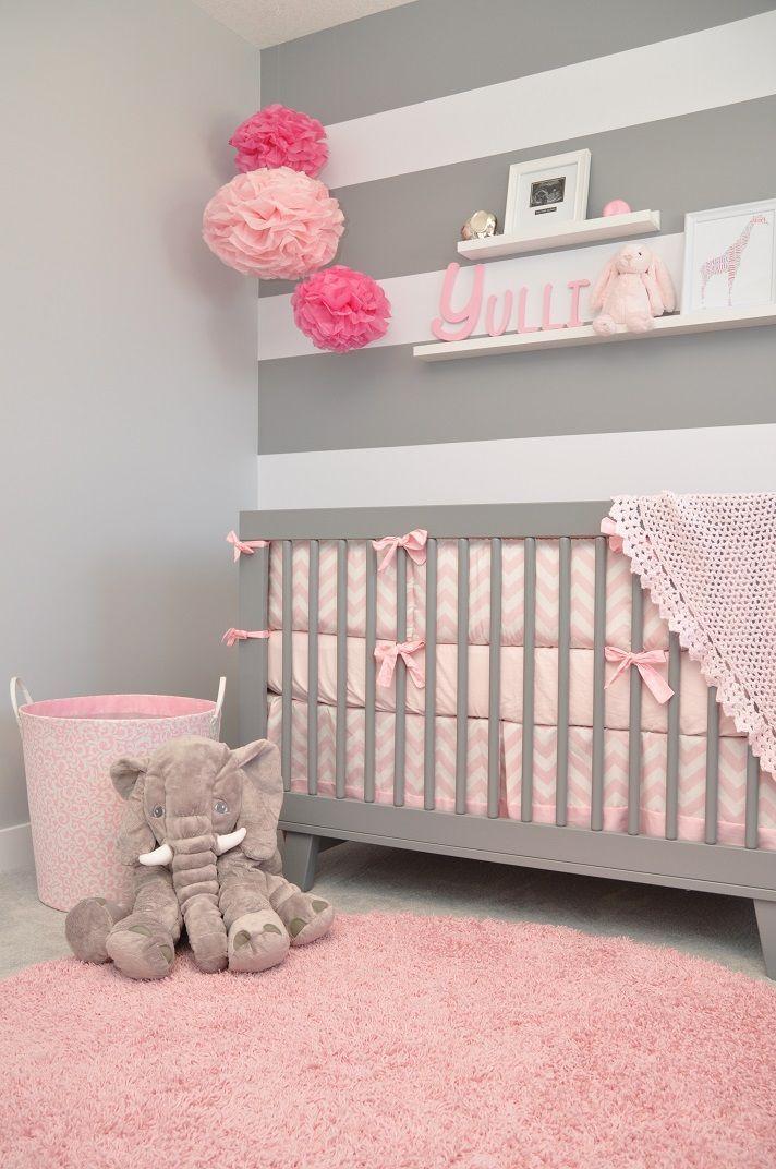 idea-de-decoracion-cuarto-para-bebe-tonos-grises-y-rosas ...