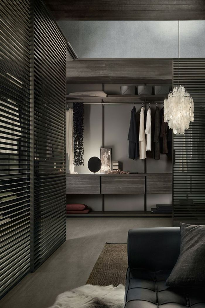 Idea de decoracion para closet en color gris y madera obscura ...