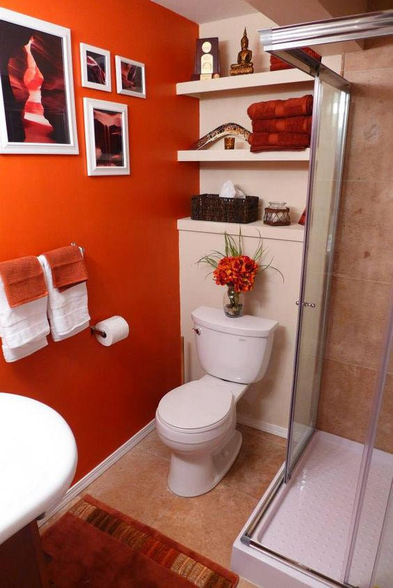 Decoracion de ba os color naranja 1 decoracion de for Decoracion naranja