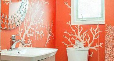 Decoracion de baños color naranja