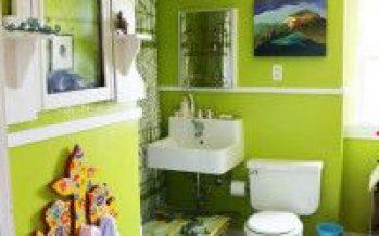 Decoracion de baños color verde manzana