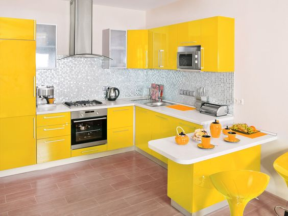 Decoracion de cocina en color amarillo | Decoracion de interiores ...