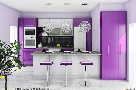 Decoracion de cocinas en color morado curso de for Cocinas modernas moradas