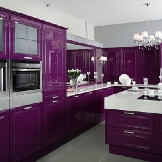Decoracion de cocinas en color morado 6 curso de - Cocina color lila ...