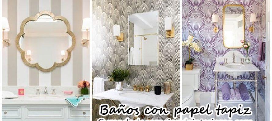 Decoración de baños con papel tapiz