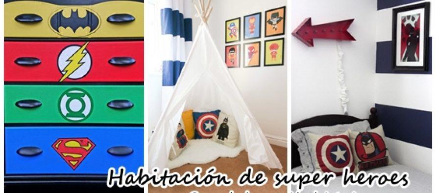 Decoración de habitación para niño de super heroes