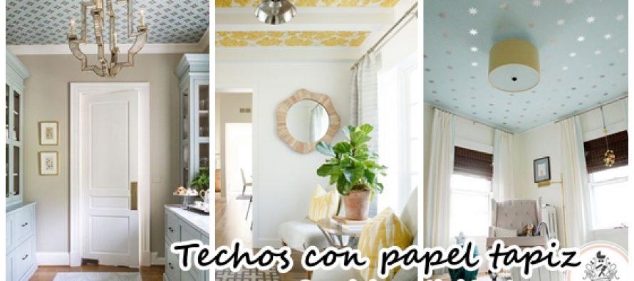 Decoración de techos con papel tapiz ¡Se mira hermoso!
