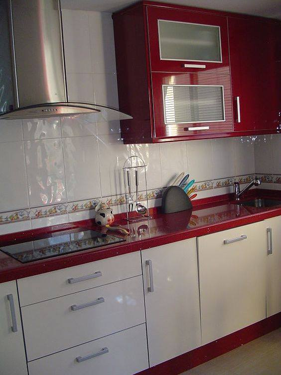 Cocinas en color rojo 14 decoracion de interiores - Cocinas color rojo ...