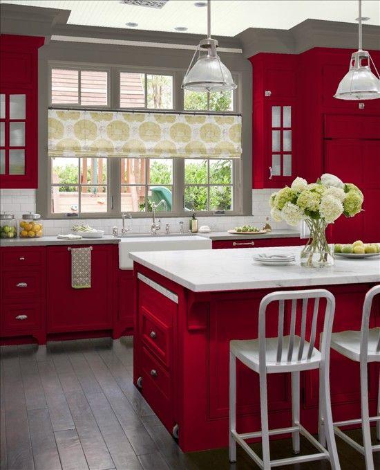 Cocinas En Color Rojo 3 Curso De Decoracion De Interiores - Cocinas-color-rojo