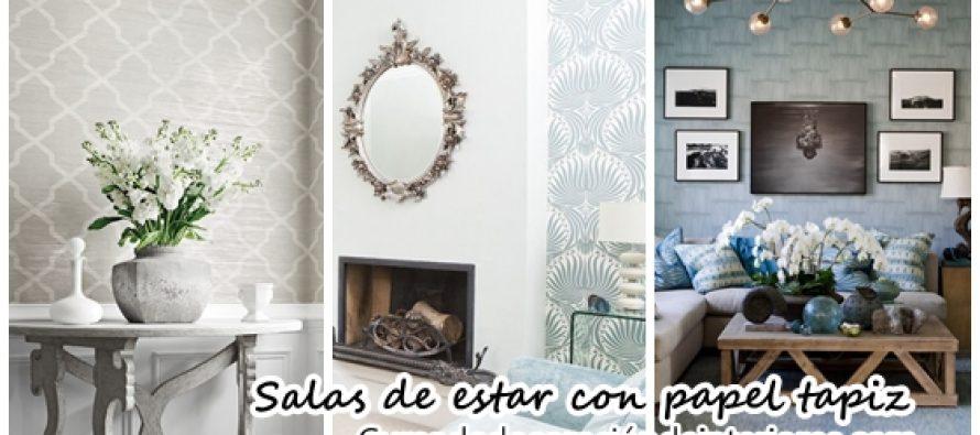 Decoración de salas de estar con papel tapiz