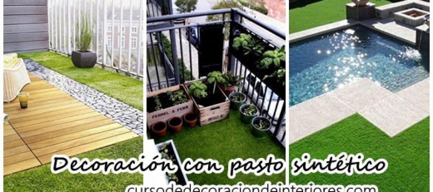 Decoración para exterior con pasto sintético