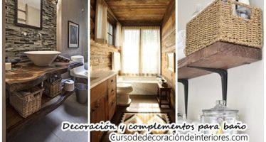 Decoración y complementos para un baño rústico