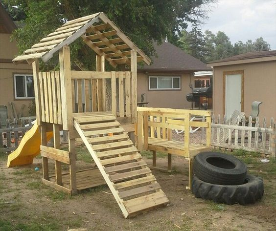 Ideas para construir casas de juegos de madera para niños (32 ...
