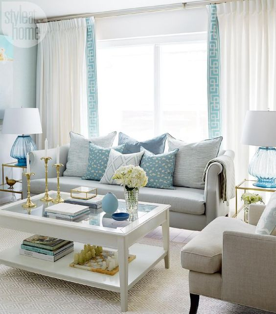 Colorful Beach Condo Makeover: 33-decoraciones-para-salas-de-estar-en-color-azul-turquesa