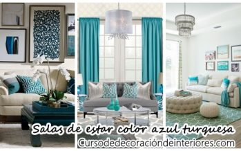 33 Decoraciones para salas de estar en color azul turquesa