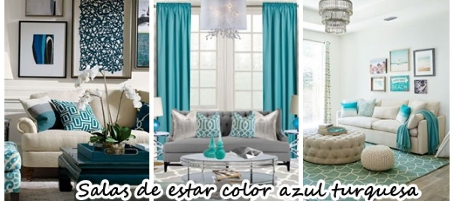 33 decoraciones para salas de estar en color azul turquesa for Decoracion de sala gris y azul