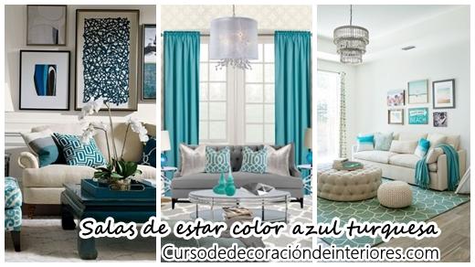 33 decoraciones para salas de estar en color azul turquesa - Decoracion en tonos turquesa ...