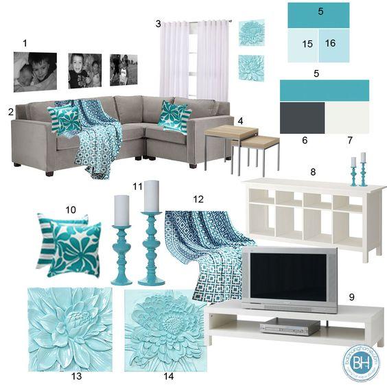 33 decoraciones para salas de estar en color azul turquesa for Decoracion en gris y turquesa