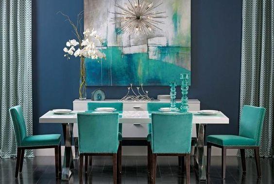 34-comedores-decorados-con-azul-turquesa (14) | Curso de Decoracion ...