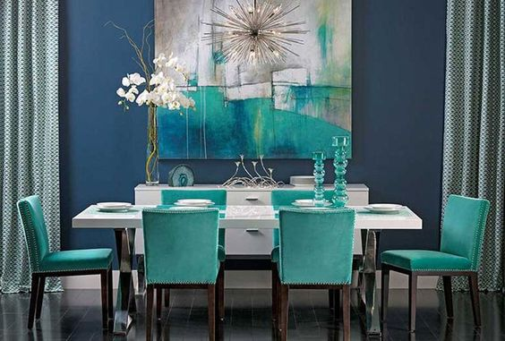 34-comedores-decorados-con-azul-turquesa (28) | Decoracion de ...