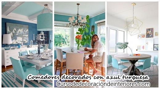 34 Comedores decorados con azul turquesa | Decoracion de interiores ...