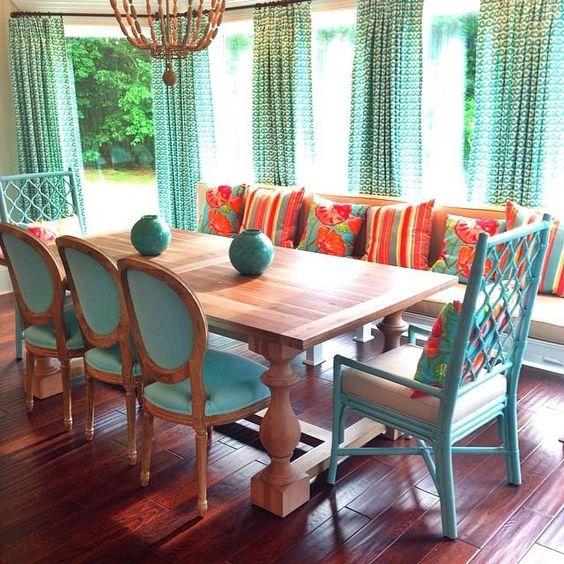 34 comedores decorados con azul turquesa 7 decoracion - Comedores decorados ...