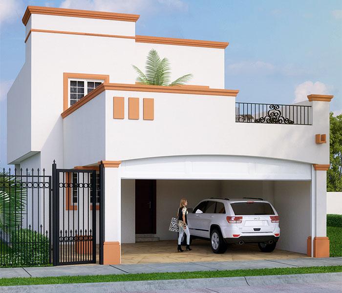 Diseño de interiores y plano de una casa con estilo tradicional