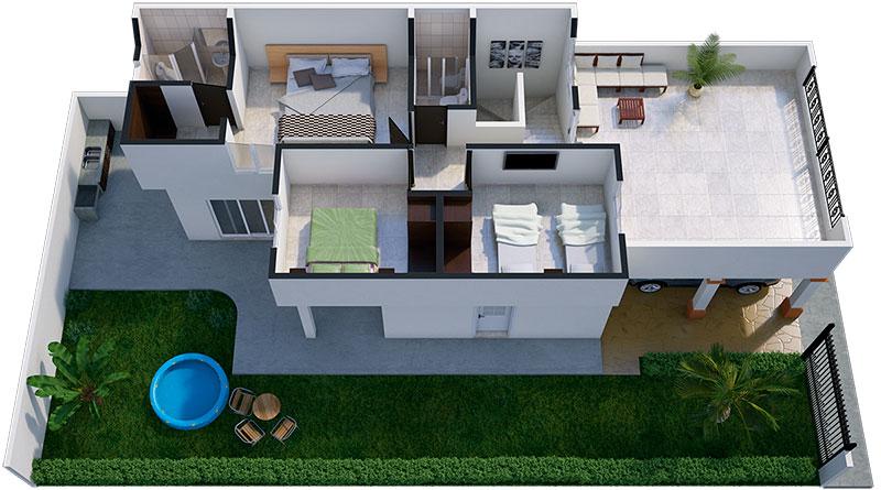 dise o de interiores y plano de una casa con estilo
