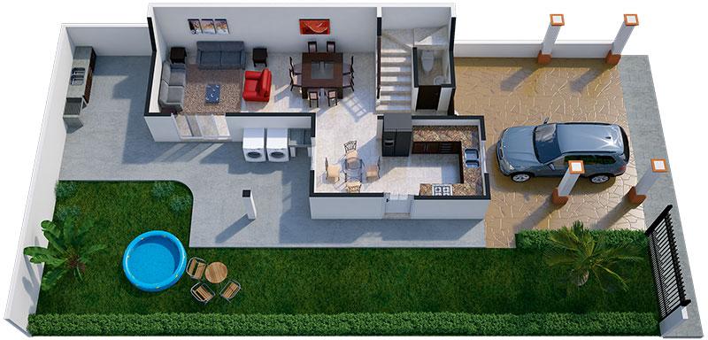 Dise o de interiores y plano de una casa con estilo for Disenos de casas por dentro