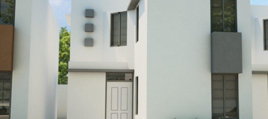 Fachada e interiores de una casa de dos pisos con 3 habitaciones