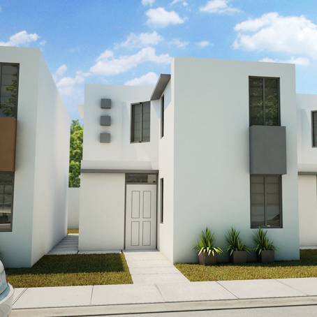 Fachada e interiores de una casa de dos pisos con 3 for Diseno de casa moderna de dos pisos fachada e interiores