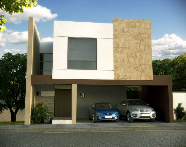 Fachada y plano de una casa minimalista que tiene todo for Fachada tradicional