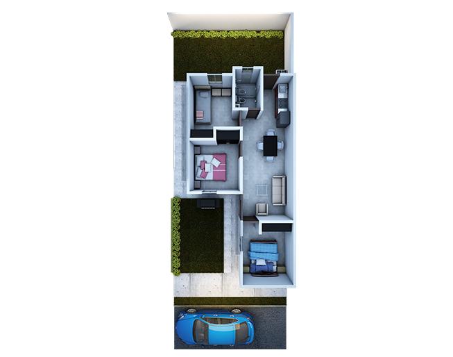 Fachadas y plano de viviendas pequeñas de 3 recamarás