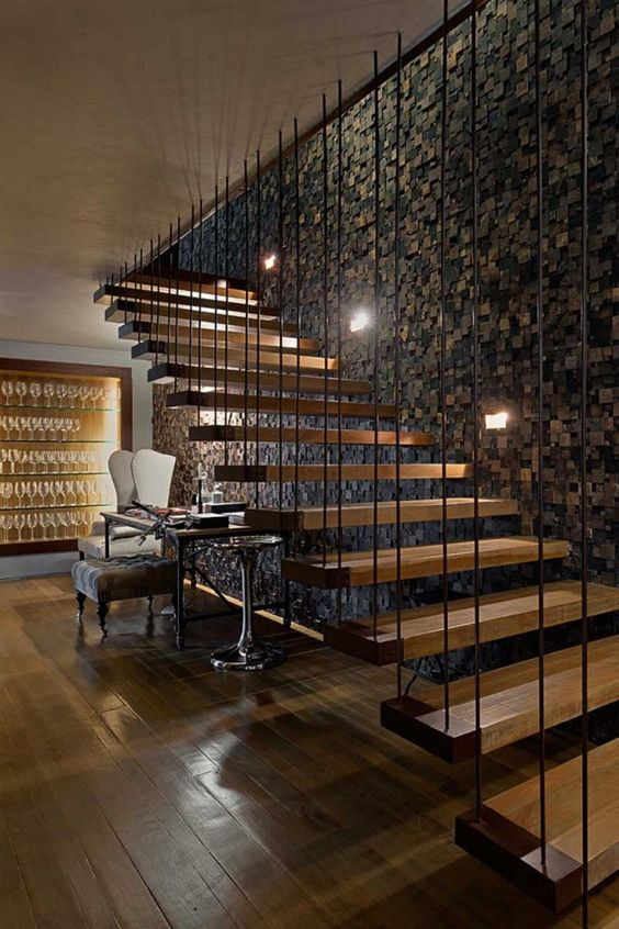 25 disenos de barandales para escaleras interiores y for Decoracion para pared de escaleras
