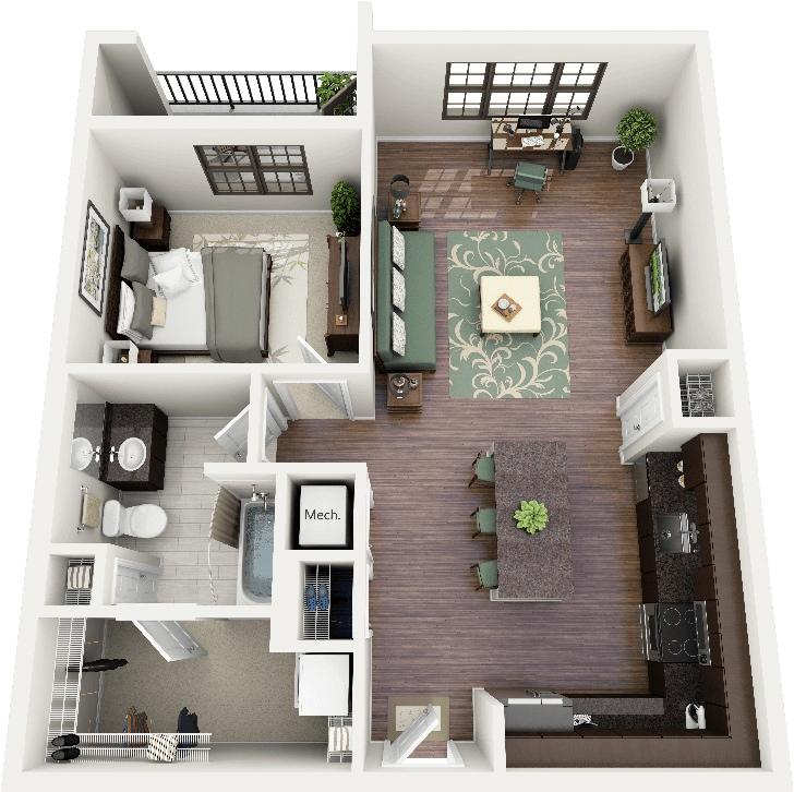 50 planos de casas o departamentos de 1 recamara 21 for Open plan kitchen designs south africa