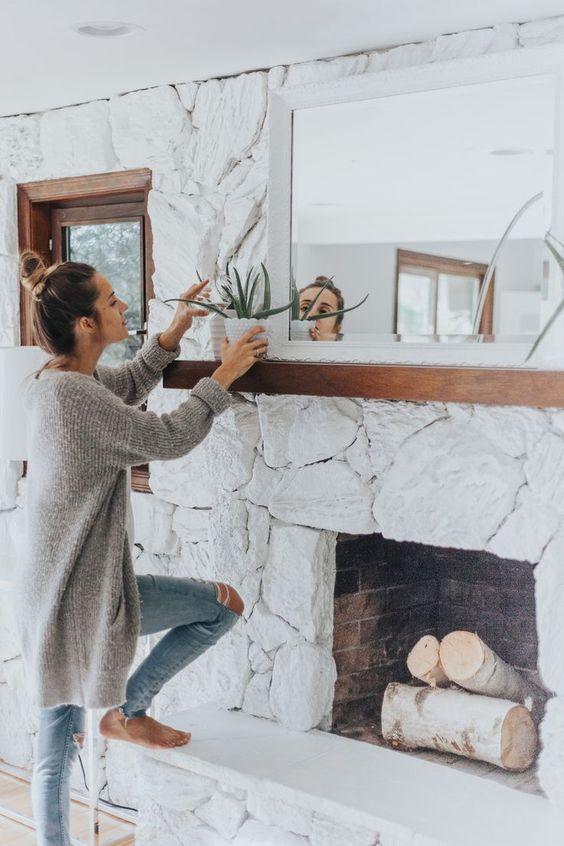 Decoración de interiores con piedra blanca