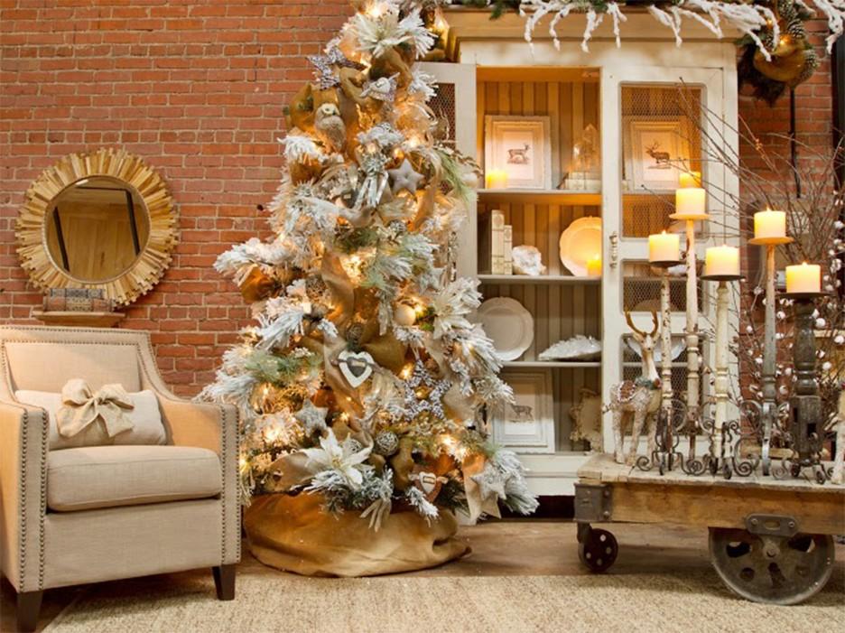 decoracion de navidad dorado beige