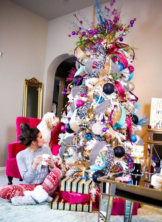 Arboles de navidad decorados 2018 2019 80 fotos y tendencias for Decoracion para arboles navidenos