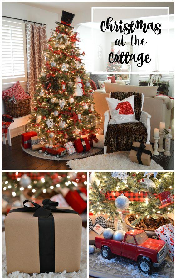 Como decorar un pino de navidad en color rojo