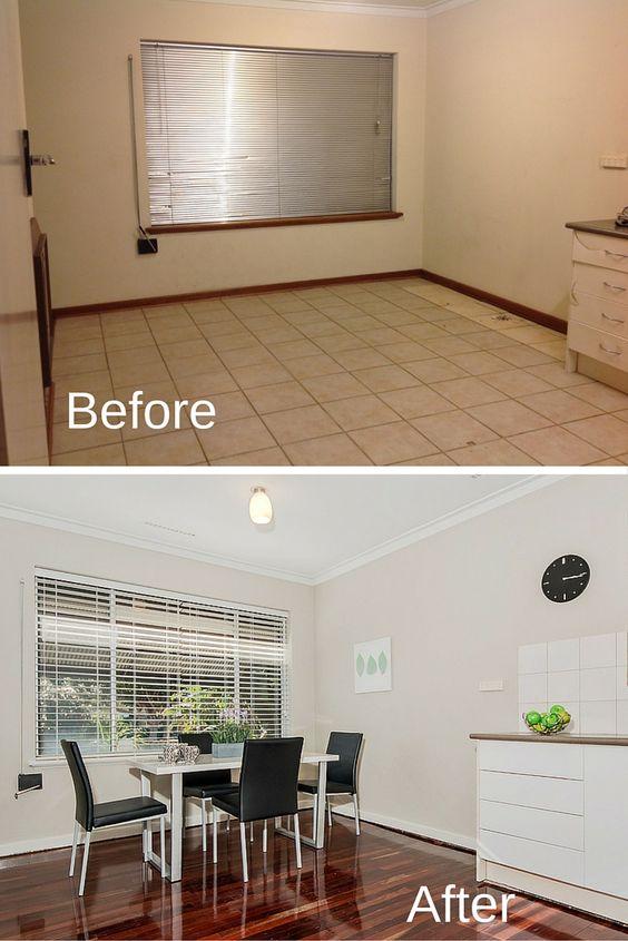 Antes y despues de la remodelación de un comedor