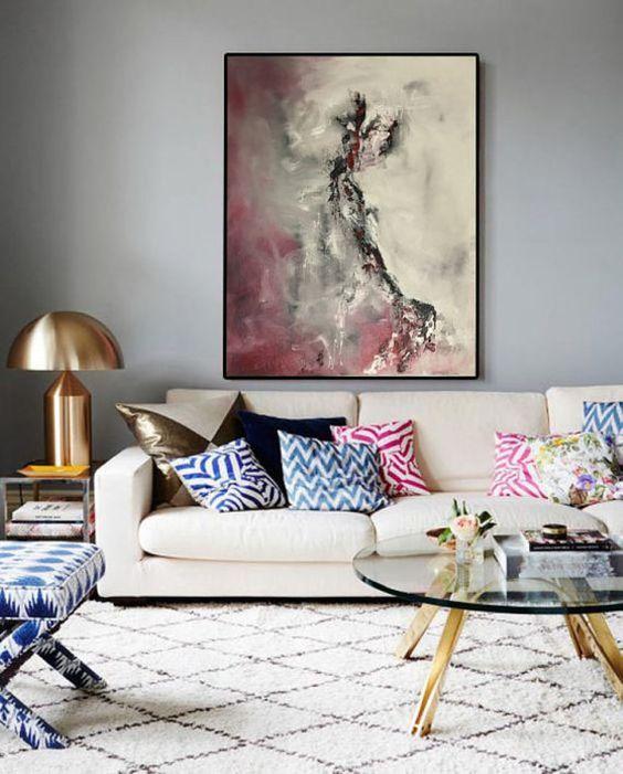 Arte en las paredes para salas glamourosas