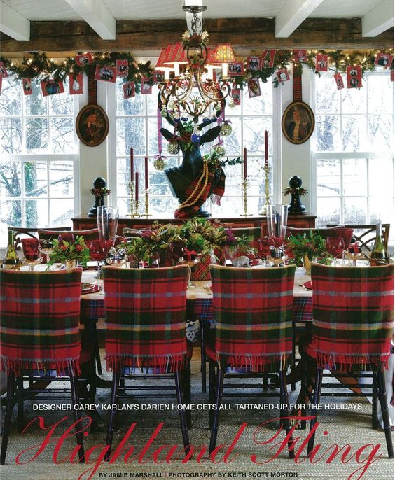 Comedores navideños decorados con cuadros escoceses