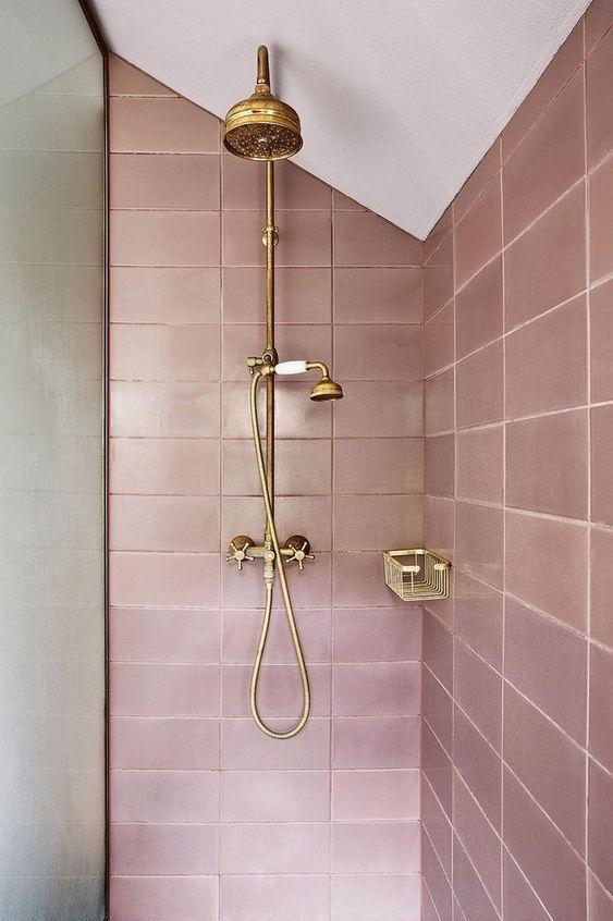 Decoración de baños con rosa gold