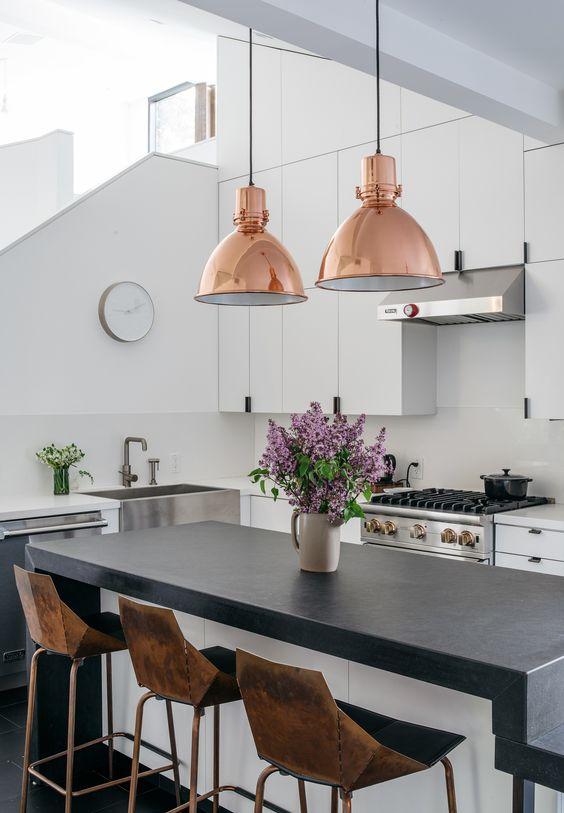 Decoración de cocinas con rosa gold