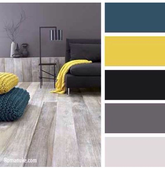 Decoracion De Interiores Color Gris Con Mostaza 24