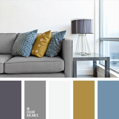 Decoración de interiores color gris con mostaza