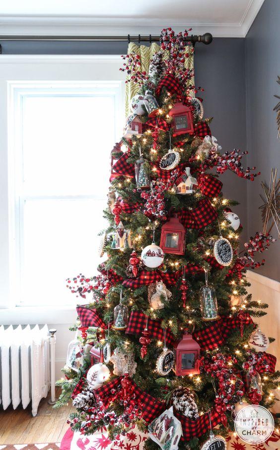 Decoracion de navidad con cuadros escoceses